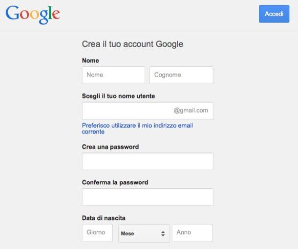 Come creare un account Gmail
